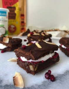 Choc Protein Brownies with Raspberry Chia Jam and Coconut filling by @hungryheallth