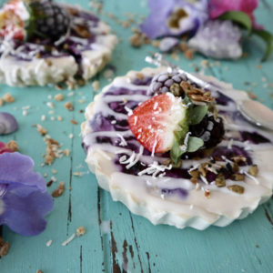 Coconut Yoghurt Blueberry Vegan Cheesecakes by @one_full_belly