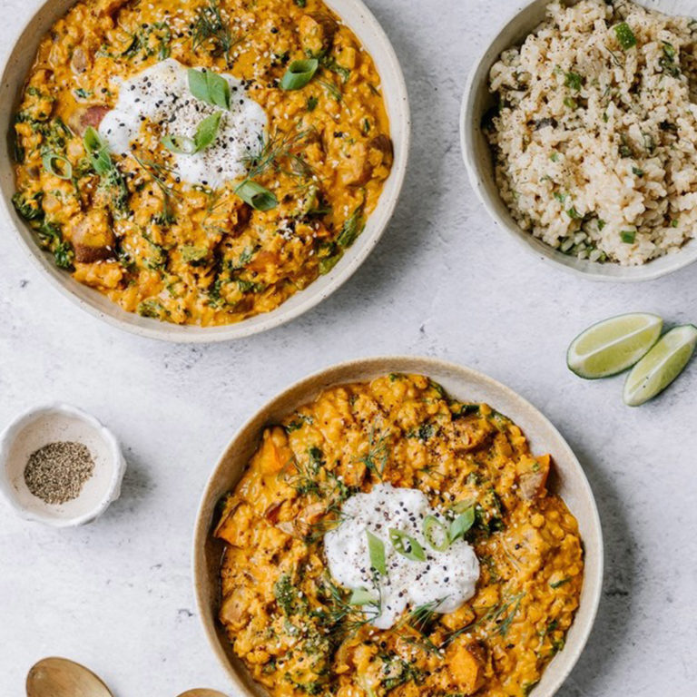 Red Lentil and Sweet Potato Curry by @growthegrin
